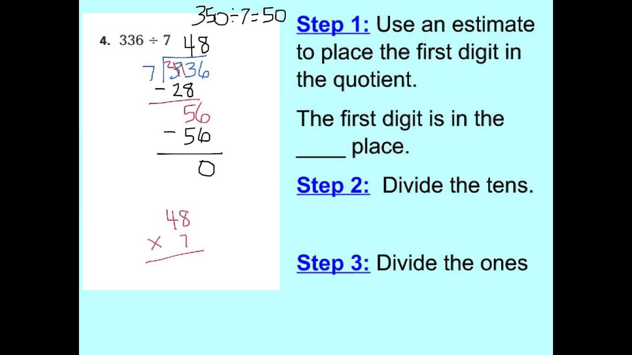 lesson 2.2 divide by a 1 digit divisor - YouTube