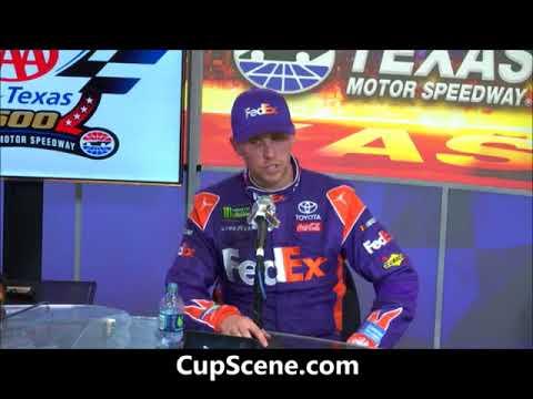 NASCAR at Texas Motor Speedway, Nov. 2017: Martin Truex Jr., Denny Hamlin post race