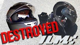 ILM Motorcycle Helmet CRASH TEST (DESTROYED)