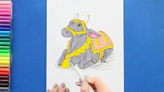 How to draw and color Nandi Bull - Maha Shivaratri