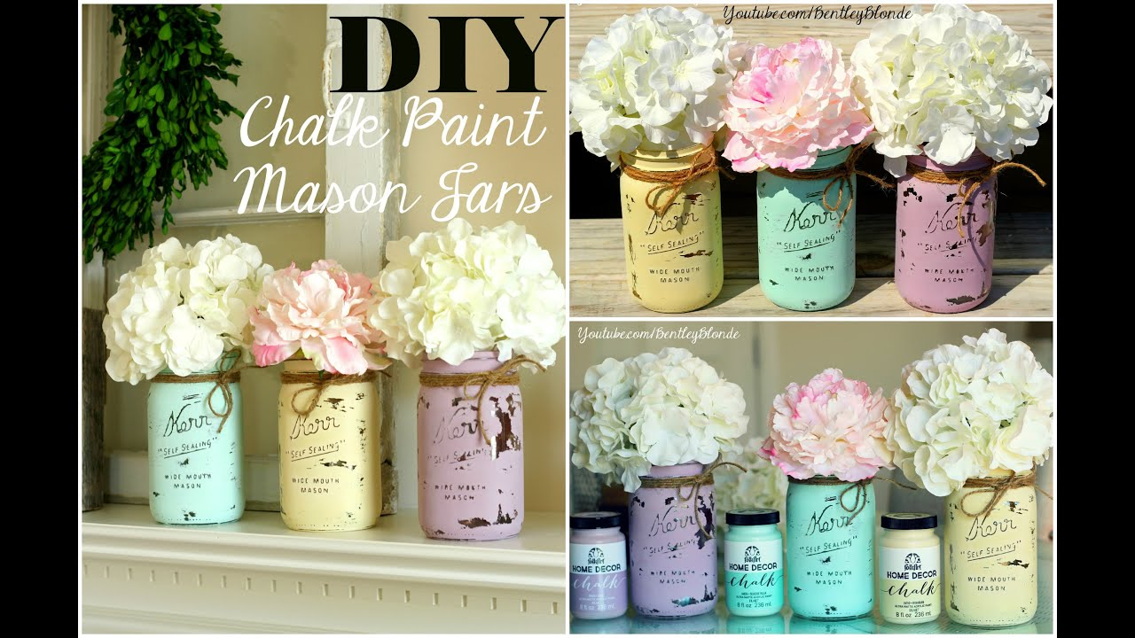 chalk paint mason jars DIY Chalk Paint Mason Jar   YouTube chalk paint mason jars