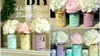 Diy Room Decor ♡ Chalk Painted Mason Jars!