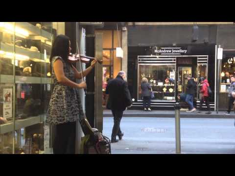 Shiki Violinist - A whole new world - busking in little Collins st, Melbourne