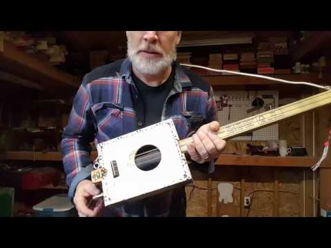 3 string cigar box guitar with internal reverb springs (#105)
