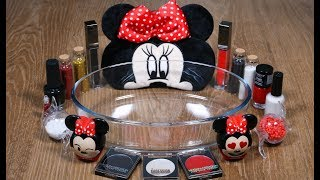 MINNIE MOUSE Slime Mixing Makeup Eyeshadow Glitter into Glossy Slime Satisfying Relaxing Video