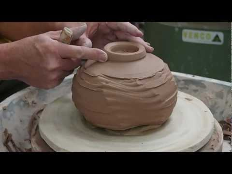 Greg Crowe Ceramics Pottery turning a base on a faceted pot