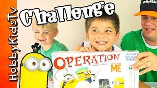 Minions Operation Game CHALLENGE! HobbyPig + HobbyFrog Play by HobbyKidsTV