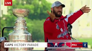 Capitals Captain Alex Ovechkin Speaks at Victory Parade