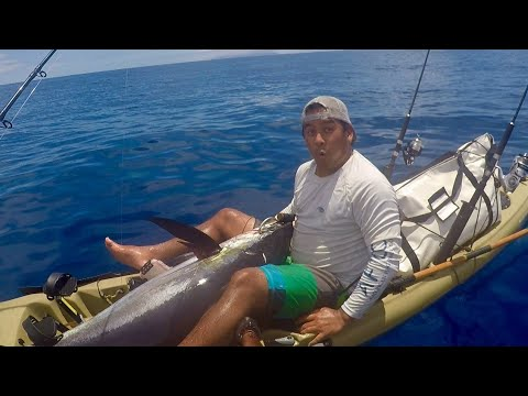 Kayak Fishing Kauai, Hawaii - Episode 5 - 116 lb Ahi (Yellowfin Tuna)