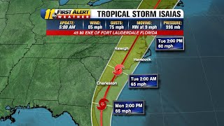 Isaias Track: Tropical Storm Isaias Expected To Bring Heavy Rain, Gusty Winds To Central Nc Tuesday