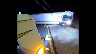 Runaway Truck & Trailer    Driver Forgot to Set the Brakes