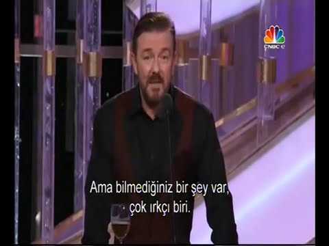 Ricky Gervais hosting Golden Globe 2012 - Turkish Subtitles - Türkçe