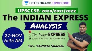 Indian Express Analysis | 27-November-2020 | UPSC CSE/IAS 2020/2021 | Santosh Sharma