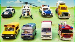 Пожарная машина Полицейская Бетономешалка Вертолет - новые игрушечные видео - police cars for kids.