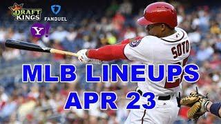 MLB DFS Lineups - Tues 4/23 - Four Corners - DraftKings, FanDuel, Yahoo - Awesemo.com