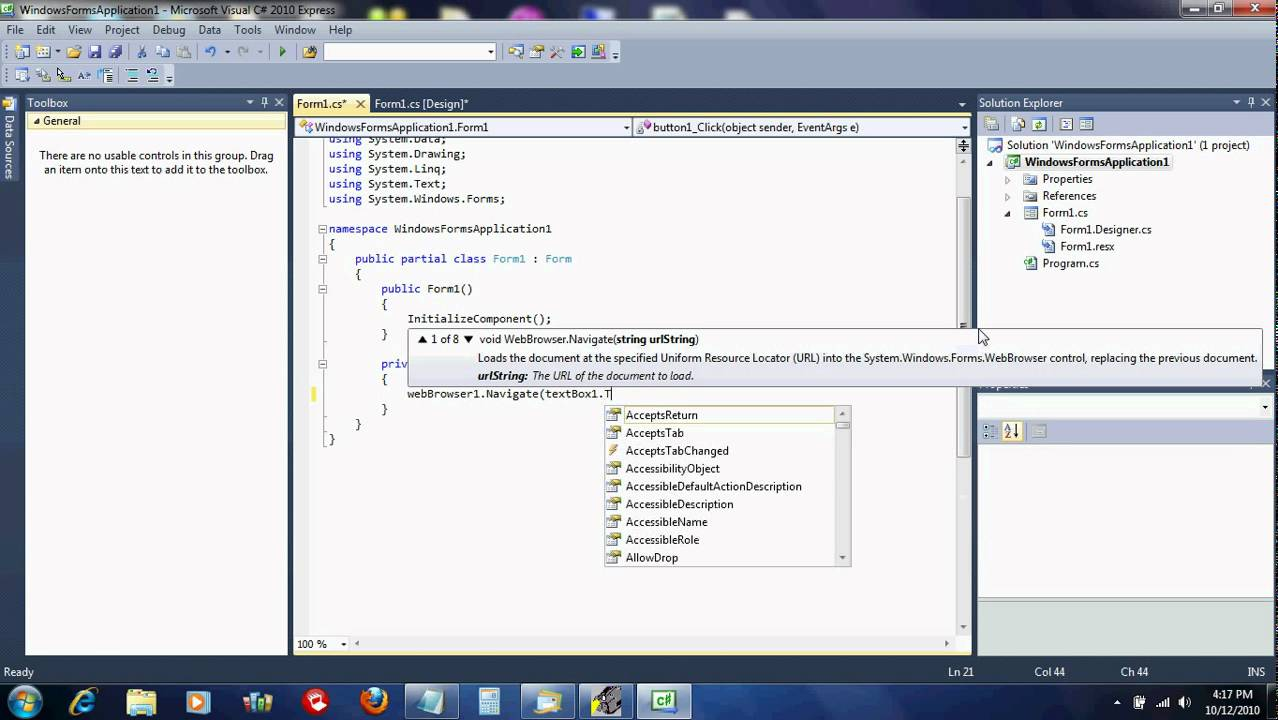 how to create a web browser in visual studio 2017