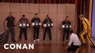 Steven Ho Teaches Conan Bruce Lee's Power Side Kick  - CONAN on TBS