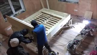 Кровать своими руками(Создание кровати своими руками из сосновых досок и мебельного щита. Не использовались ДСП, ДВП и фанера..., 2016-02-07T14:19:49.000Z)