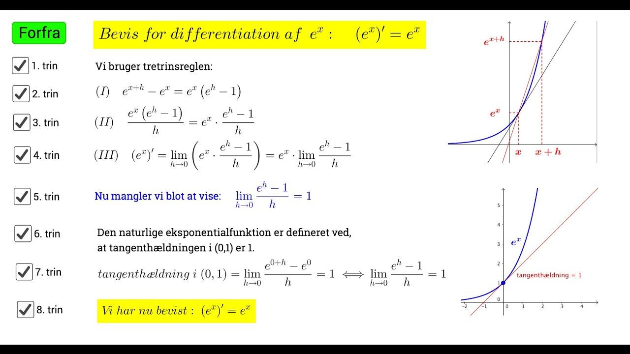 Bevis for differentiation af den naturlige eksponentialfunktion
