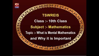 TSWREIS || Maths - What is Mental Mathematics & Why it is Important || Live With N. Shilpa
