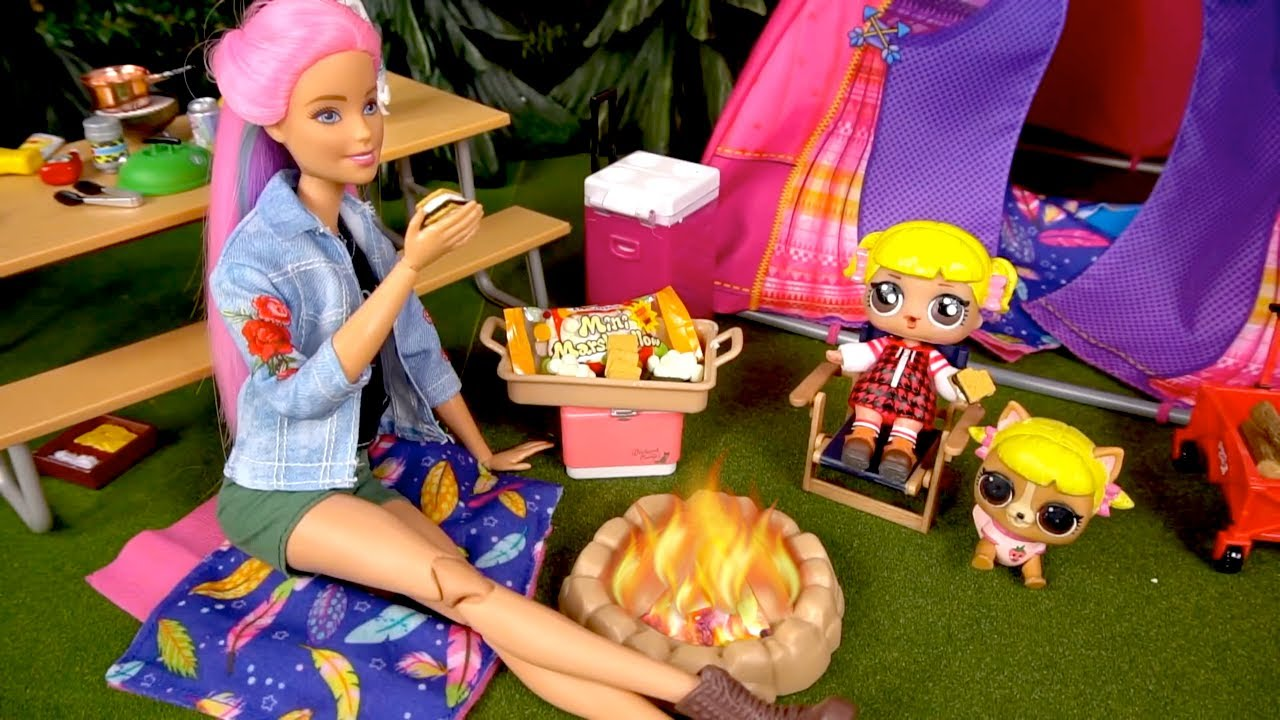 Barbie LOL Goldie Doll Camping Adventure Rement Collection