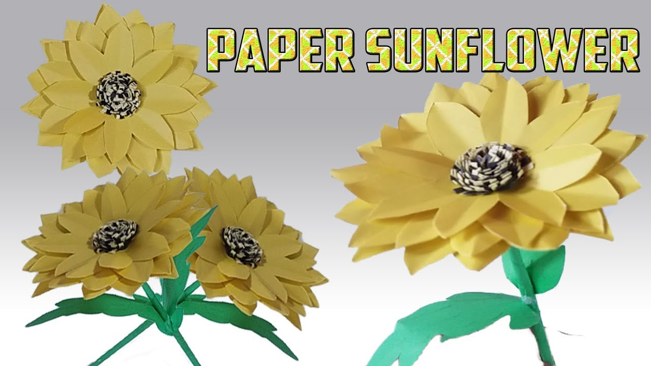 Paper sunflower paper sunflower tutorial how to make paper paper sunflower paper sunflower tutorial how to make paper sunflower origami diy crafts jeuxipadfo Gallery