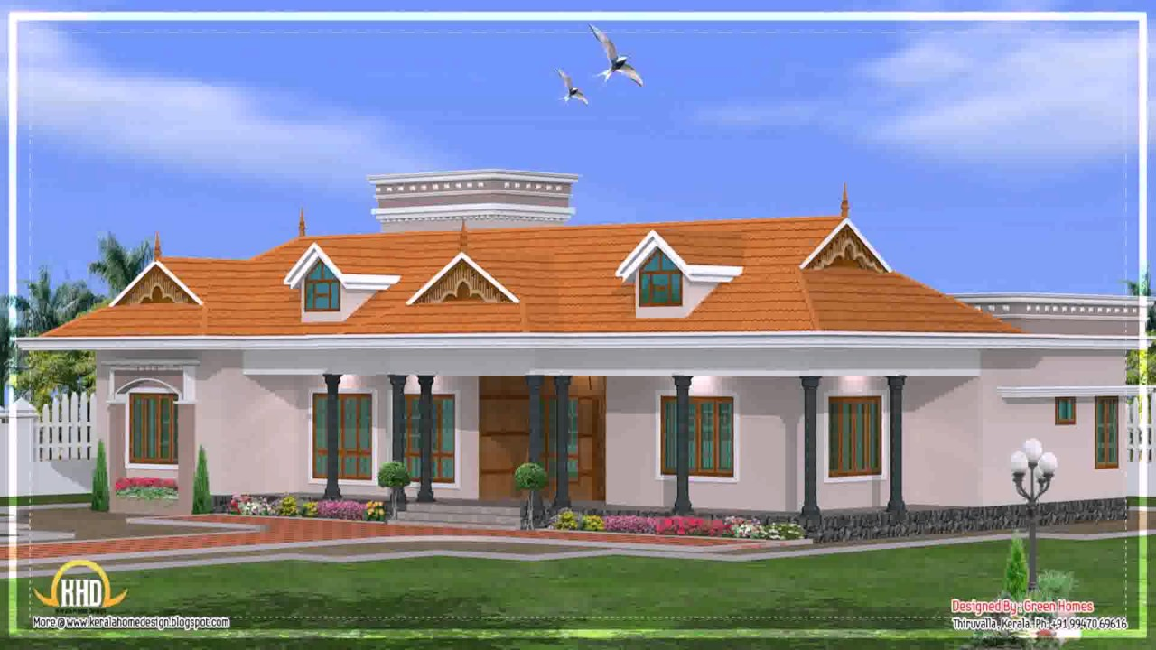 Kerala style single floor house elevations youtube for Kerala style single storey house plans