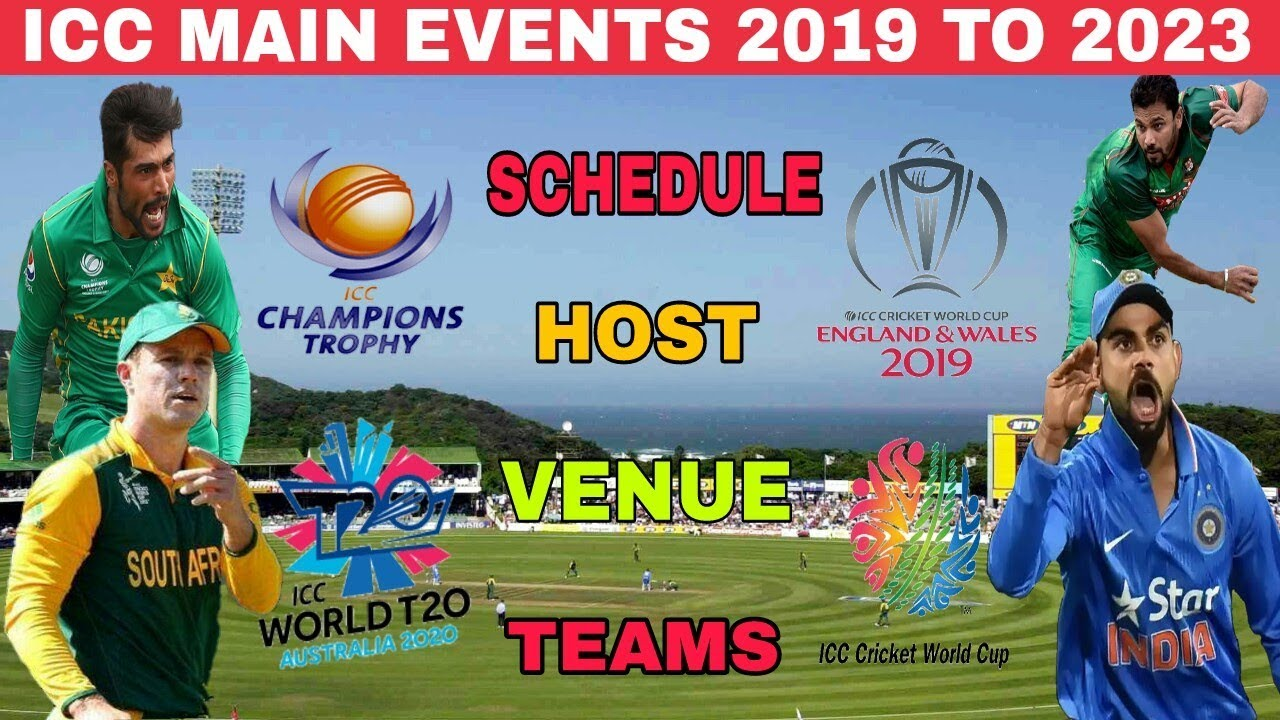 Champion Trophy 2020 Schedule ICC MAIN EVENTS 2019 TO 2023 | WORLD CUP 2019 | WORLD TWENTY 20