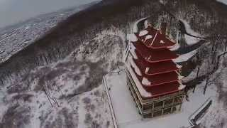 Aerial view of the Pagoda in Reading, PA