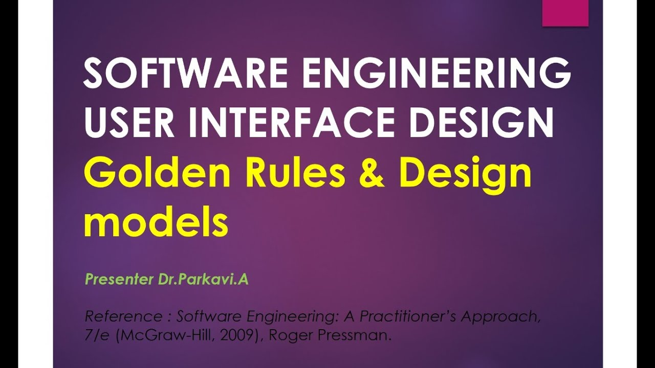 Software Engineering User Interface Design Golden Rules Design Models Youtube