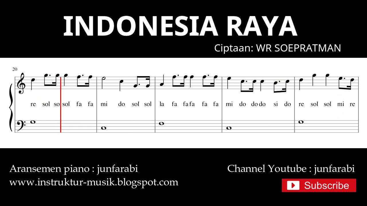 Not Balok Indonesia Raya Lagu Wajib Nasional Doremi Solmisasi Youtube