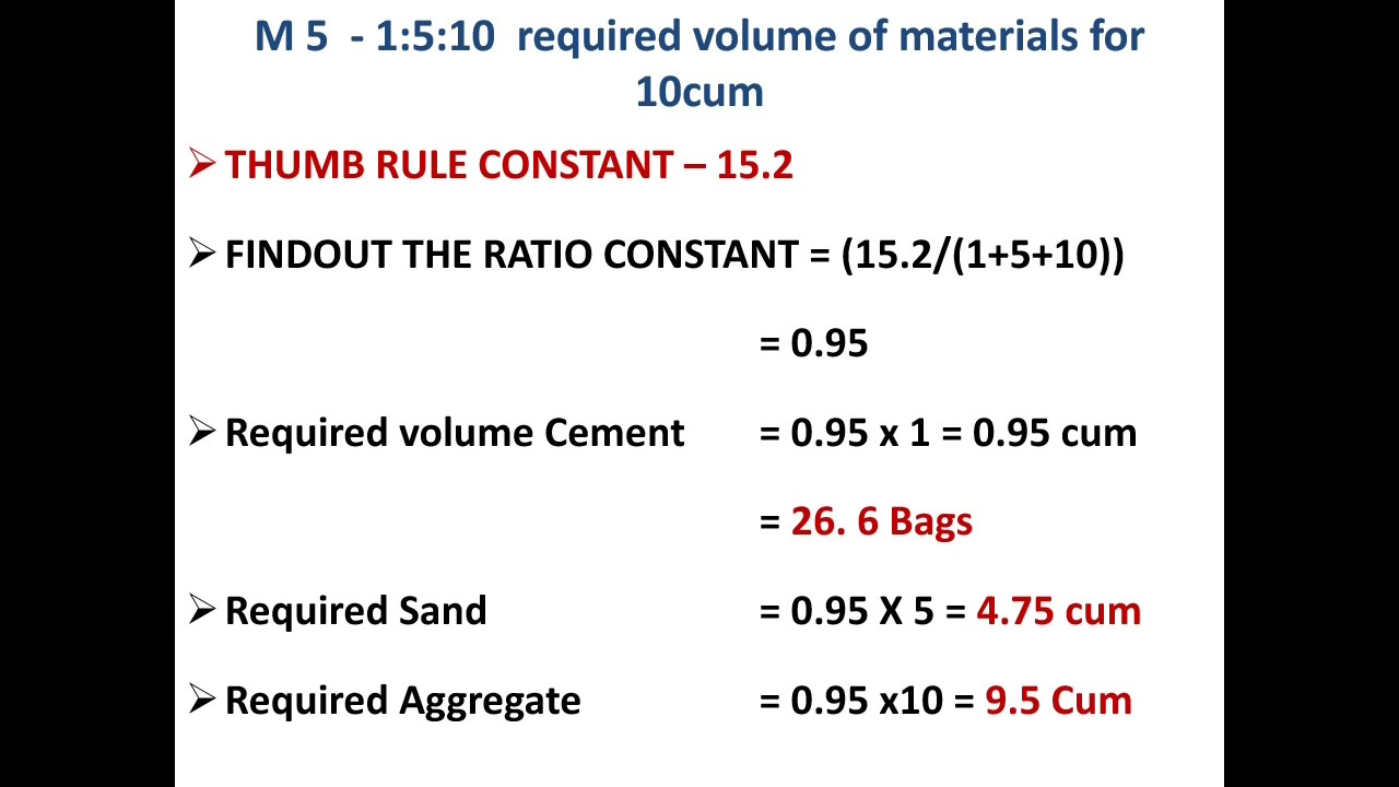 How To Calculate The Volume Of Cement Fine Aggr Course For Diffe Grades Concrete