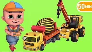 Hammer Drill Excavator \u0026 Construction Trucks for Kids   Breakwater Construction