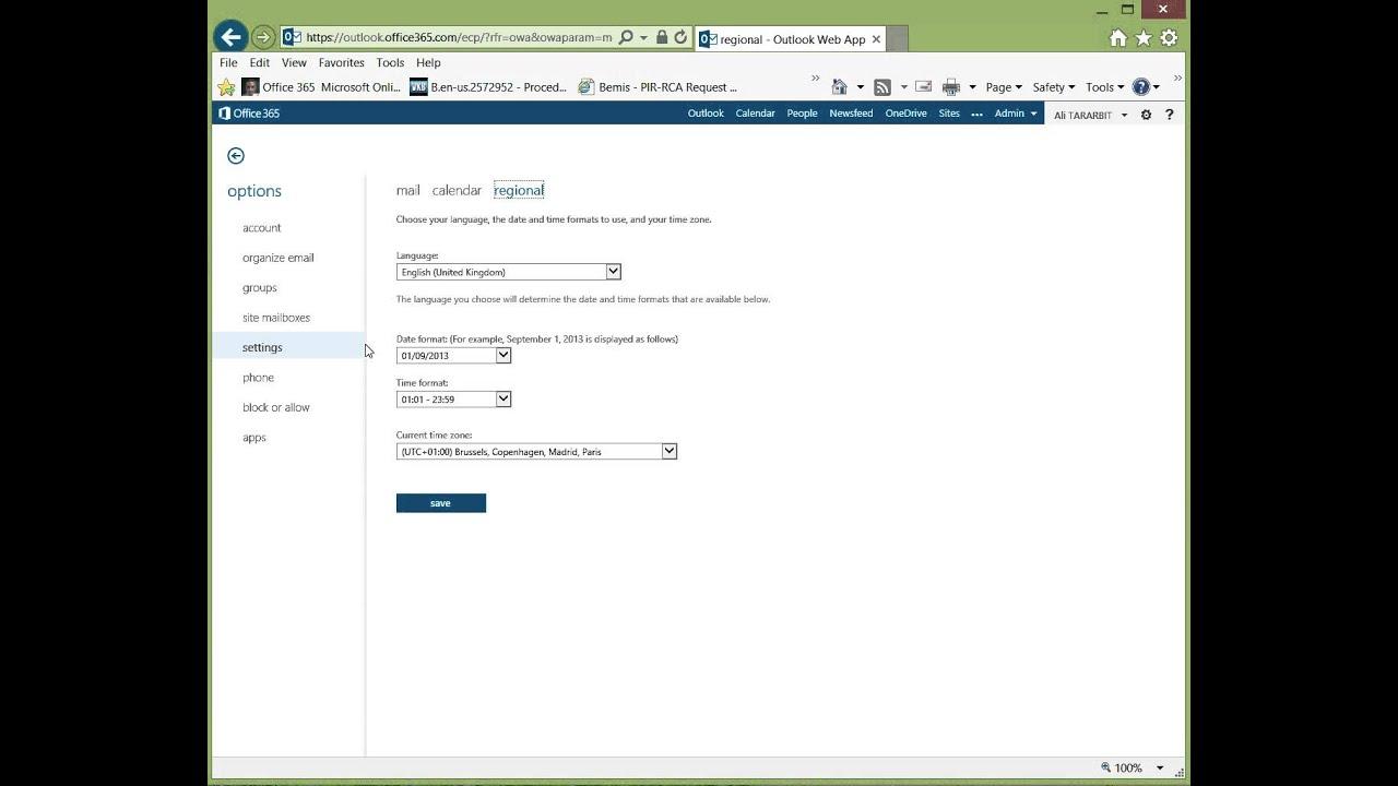 Office 365: Changer la langue utilisée sous Outlook Web App (OWA)