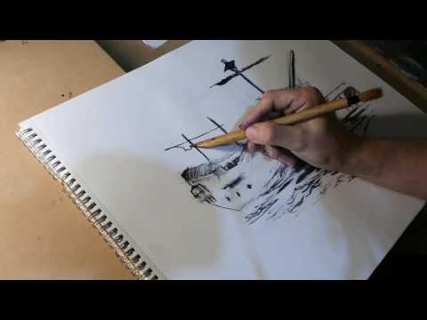 Let's Draw an epic Ship w/ Bamboo pen & ink