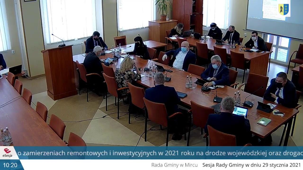 XXXIV sesja Rady Gminy w Mircu z dnia 29 stycznia 2021r. cz. I