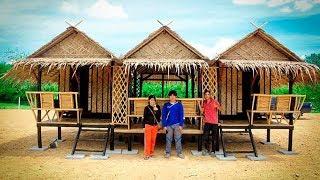 บ้านไม้ไผ่ชั้นเดียวสามมุก ขนาด 2 ห้องนอน 1 โต๊ะกลาง งบก่อสร้าง 75,000 บาท
