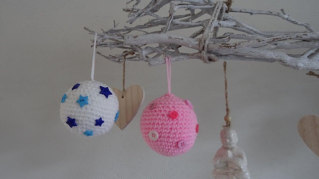 Gehaakte Kerstbal Met Knoopjes Bauble With Buttons Crochet Youtube