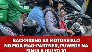 Motor back-riding for couples now allowed