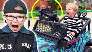POWER WHEELS Police Car Chase | Monster Trucks | Videos for Kids