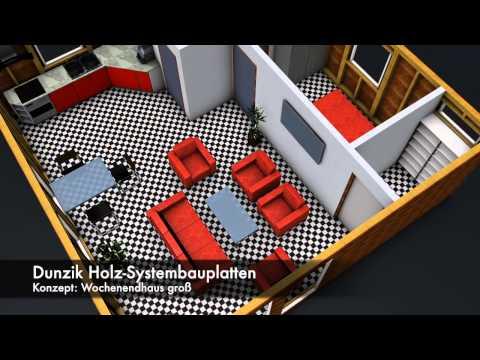 Dunzik Holz-Systembauplatten 3D Wochenendhaus groß