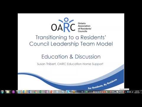 Transitioning to a Shared Leadership Model for Residents Council   Feb 28 2017