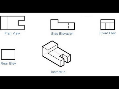 Civil Engineering Drawing Isometric View to Orthographic View - isometric view