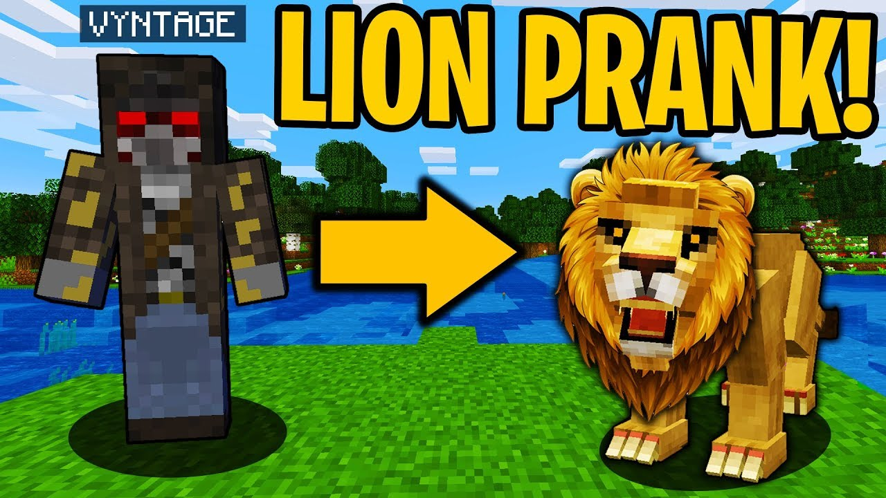 PRANKING AS A LION IN MINECRAFT! - Minecraft Trolling Video