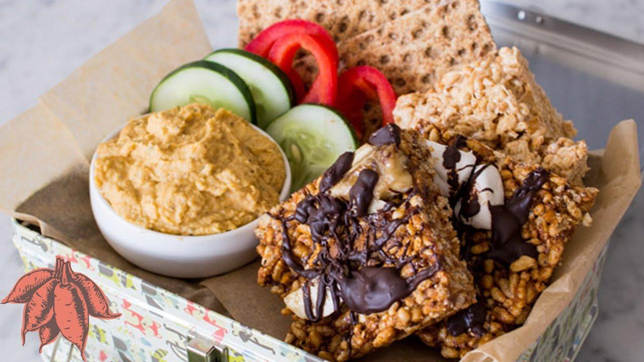 Back to School Vegan Snacks | Vegan Rice Crispy Treats | Sweet Potato Hummus