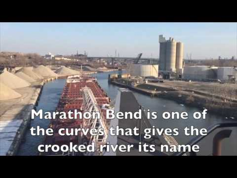Watch large ore boat travel up the Cuyahoga River