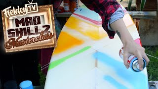 Easy spray geometric painting stencil for your surfboard or skateboard | Mad Skillz Masterclass Ep 5