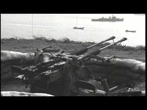 Abandoned Japanese artillery and a ship at Kiska in Aleutian Island, Alaska HD Stock Footage