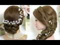 2 hairstyles for long hair tutorial. Bridal updo, mermaid side braid