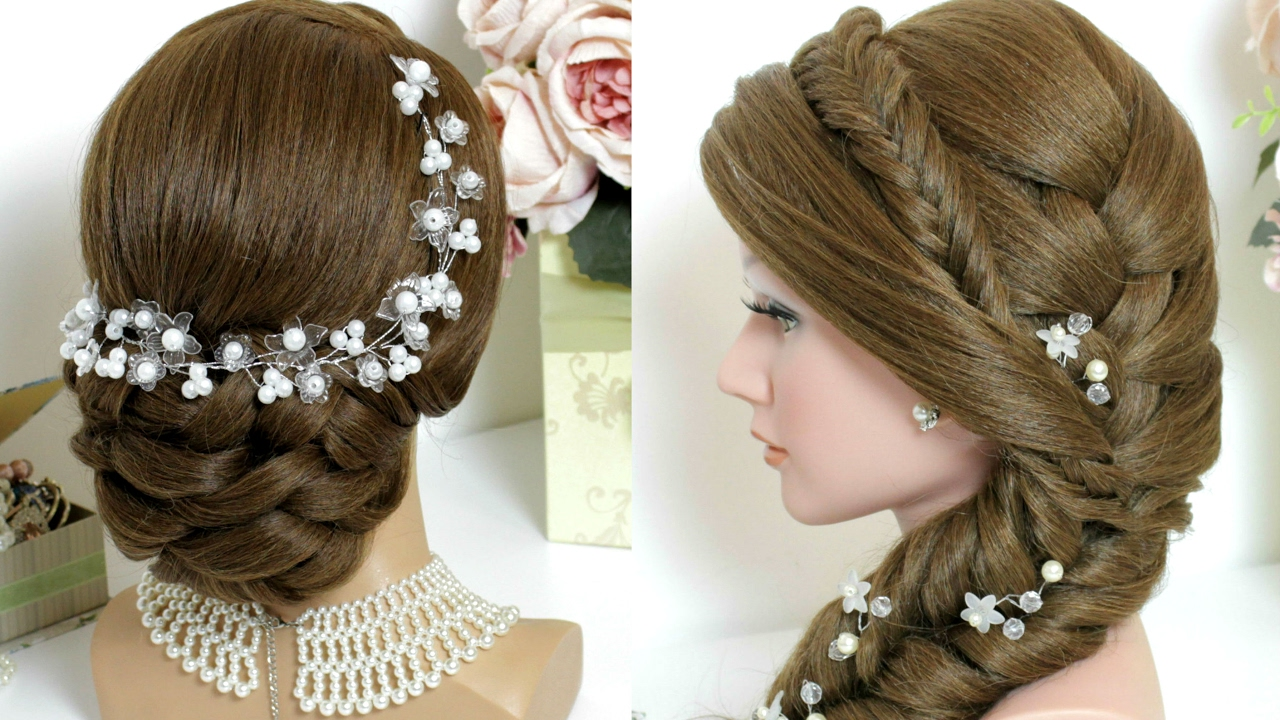 Wedding Hairstyles With Braids: 2 Hairstyles For Long Hair Tutorial. Bridal Updo, Mermaid